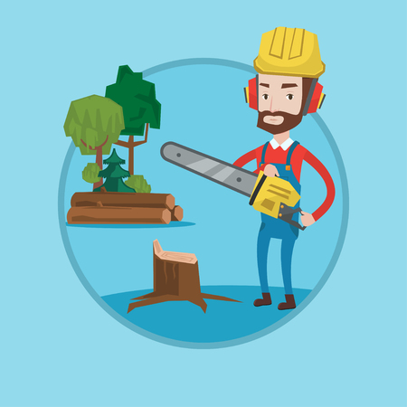 Hipster lumberjack with beard holding chainsaw. Lumberjack in workwear, hard hat and headphones at work. Lumberjack chopping wood. Vector flat design illustration in the circle isolated on background.