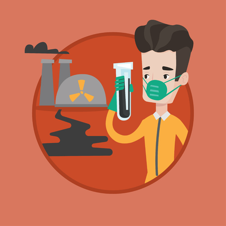 biohazard: Man in radiation protective suit standing on background of nuclear power plant. Man in radiation protective suit holding test-tube. Vector flat design illustration in the circle isolated on background