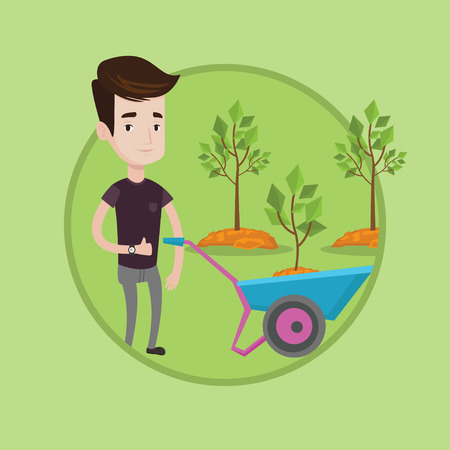 Gardener pushing wheelbarrow with plant and dirt in the park. Gardener with wheelbarrow on a background of newly planted trees. Vector flat design illustration in the circle isolated on background.