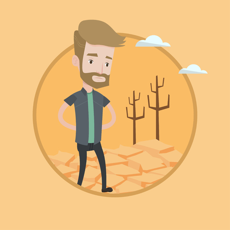 Man walking in desert. Frustrated young man standing on cracked earth in the desert. Concept of climate change and global warming. Vector flat design illustration in the circle isolated on background. Stock Illustratie