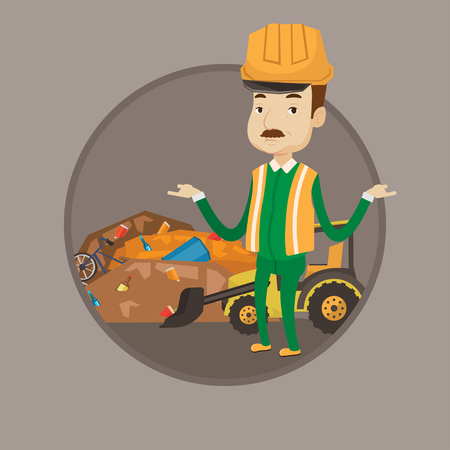 dumping: Worker standing with spread arms on the background of landfill. Bulldozer working on landfill. Concept of environmental pollution. Vector flat design illustration in the circle isolated on background.
