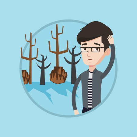 man caused: Young caucasian man scratching his head on the background of dried trees. Dead forest caused by global warming or wildfire. Vector flat design illustration in the circle isolated on background.