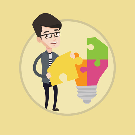 Student standing near idea bulb. Young excited male student takes apart idea bulb made of puzzle. Student having a great idea. Vector flat design illustration in the circle isolated on background.