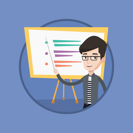 school class: Happy caucasian teacher or student holding pointer. Young teacher with a pointer standing in front of board. Concept of education. Vector flat design illustration in the circle isolated on background.