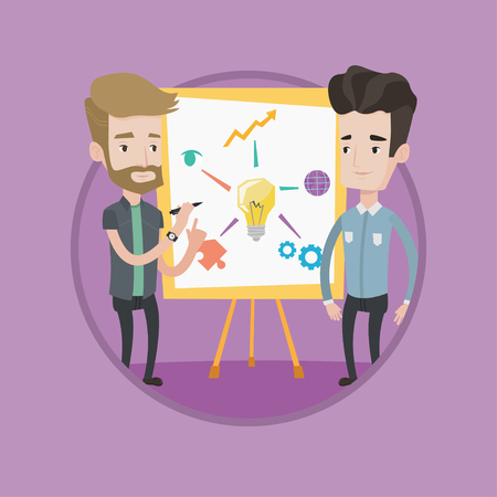 Two caucasian businessmen discussing a project. Businessmen working on project. Businessman drawing business project on a board. Vector flat design illustration in the circle isolated on background. Illustration