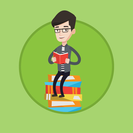 Caucasian student sitting on huge pile of books. Student reading book. Smiling man sitting on stack of books with book in hands. Vector flat design illustration in the circle isolated on background.