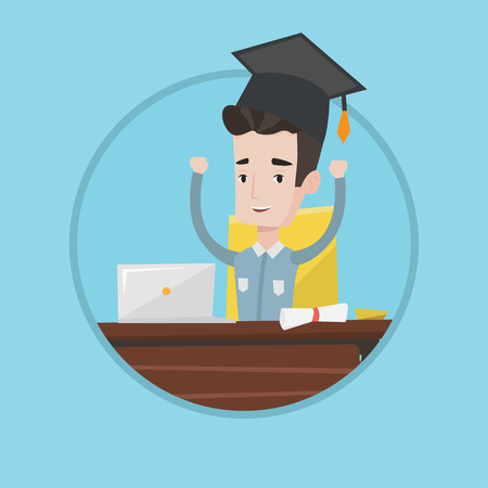 Graduate with raised hands sitting at the table with laptop and diploma. Student in graduation cap using laptop for education. Vector flat design illustration in the circle isolated on background.
