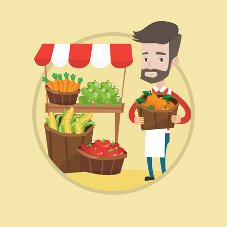 Young caucasian greengrocer standing near market stall. Hipster greengrocer with the beard holding basket with fruits. Vector flat design illustration in the circle isolated on background. Illustration