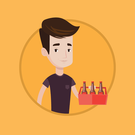 Young happy man holding pack of beer. Cheerful man carrying a six pack of beer. Caucasian man buying beer. Vector flat design illustration in the circle isolated on background.