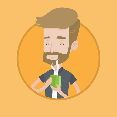 Hipster man drinking hot flavored coffee. Young man holding cup of coffee with steam. Man with his eyes closed enjoying coffee. Vector flat design illustration in the circle isolated on background.
