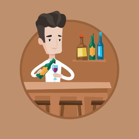 Barman caucasien avec une bouteille de vin et un verre debout au comptoir du bar. Barman au travail. Barman versant le vin dans un verre. Illustration vectorielle design plat dans le cercle isolé sur fond. Banque d'images - 84256958