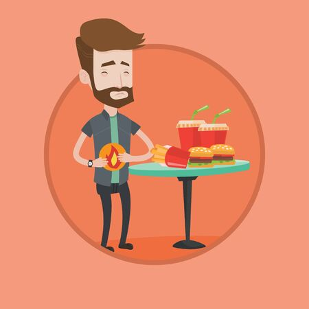 Hipster man suffering from heartburn. Caucasian man having stomach ache from heartburn. Man having stomach ache after fast food. Vector flat design illustration in the circle isolated on background.
