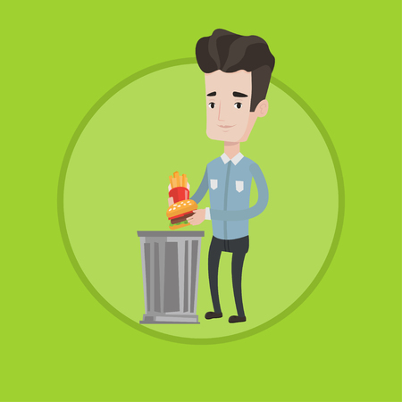 Caucasian man putting junk food into a trash bin. Young man refusing to eat junk food. Man throwing away junk food into trash bin. Vector flat design illustration in the circle isolated on background. Vettoriali