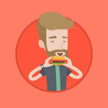 Hipster man eating hamburger. Happy man with eyes closed biting hamburger. Young smiling man is about to eat delicious hamburger. Vector flat design illustration in the circle isolated on background. Imagens - 84274497