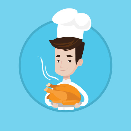 Chief cooker in uniform and cap holding roasted chicken. Young caucasian chief cooker holding whole baked chicken on plate. Vector flat design illustration in the circle isolated on background.