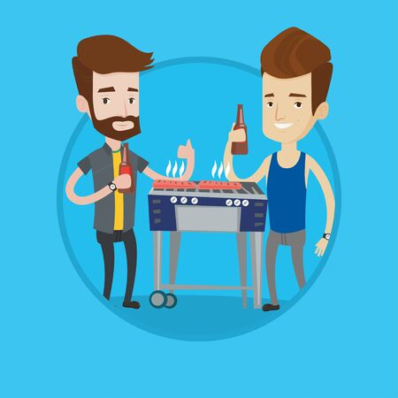 Smiling caucasian male friends preparing barbecue and drinking beer. Group of happy friends having fun at a barbecue party. Vector flat design illustration in the circle isolated on background.