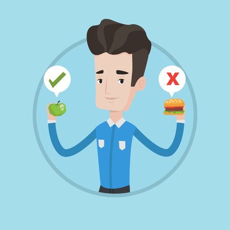 Young man holding apple and hamburger in hands. Man choosing between apple and hamburger. Healthy and unhealthy nutrition concept. Vector flat design illustration in the circle isolated on background.