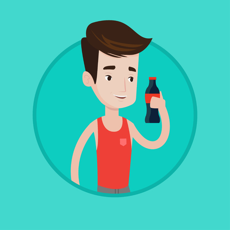 Caucasian man holding soda beverage in bottle. Young man standing with bottle of soda. Cheerful man drinking soda from bottle. Vector flat design illustration in the circle isolated on background.