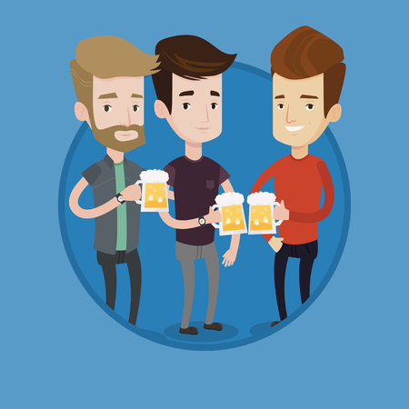 Cheerful beer fans toasting and clinking glasses. Group of young friends enjoying a beer at pub. Caucasian men drinking beer. Vector flat design illustration in the circle isolated on background.