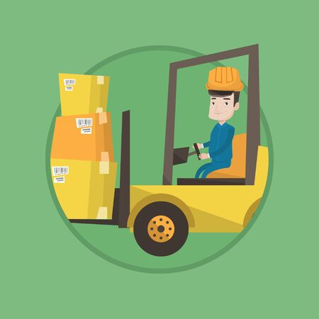 Warehouse worker loading cardboard boxes. Forklift driver at work in storehouse. Warehouse worker driving forklift at warehouse. Vector flat design illustration in the circle isolated on background. Illustration