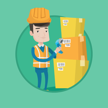 Warehouse worker scanning barcode on box. Warehouse worker checking barcode of box with a scanner. Warehouse worker with scanner. Vector flat design illustration in the circle isolated on background. Ilustração