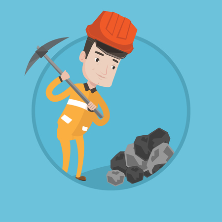 Caucasian miner in hard hat working with a pickaxe. Miner working at the coal mine. Young miner at work. Vector flat design illustration in the circle isolated on background. Illustration