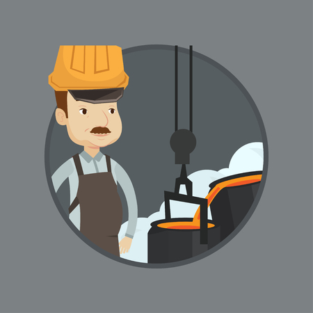 Steelworker at work in the foundry. Steelworker controlling iron smelting in the foundry. Industrial worker of steel making plant. Vector flat design illustration in the circle isolated on background. Иллюстрация