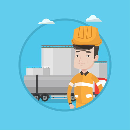 Caucasian worker of oil and gas industry. Confident refinery worker standing on background of fuel truck and oil refinery plant. Vector flat design illustration in the circle isolated on background. Illustration