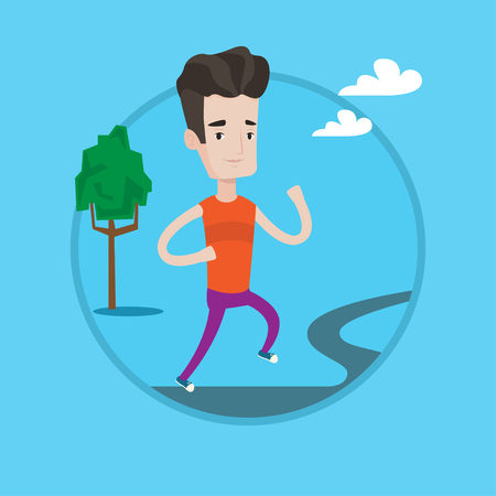 Young caucasian man running outdoors. Sportsman running in the park. Running man on forest road. Vector flat design illustration in the circle isolated on background.