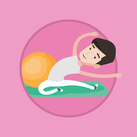 Young caucasian man doing stretching on exercise mat. Sportsman stretching before training. Sportsman doing stretching exercises. Vector flat design illustration in the circle isolated on background.