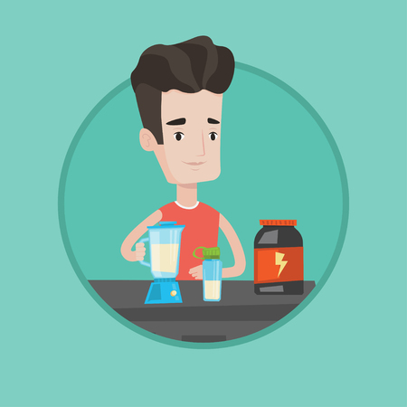 cocktail mixer: Sportsman making protein shake. Man preparing protein cocktail of bodybuilding food supplements. Man cooking protein cocktail. Vector flat design illustration in the circle isolated on background.