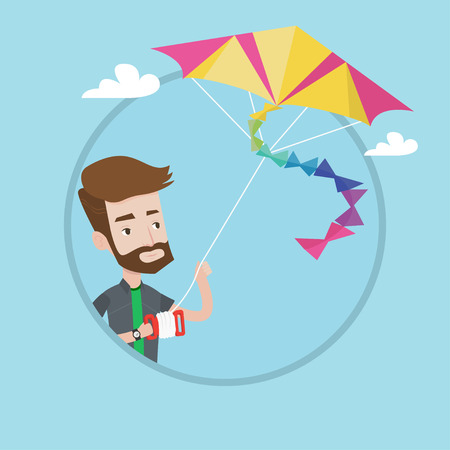 Hipster man with the beard flying a colourful kite. Caucasian yung happy man controlling a kite. Cheerful guy playing with kite. Vector flat design illustration in the circle isolated on background Illustration