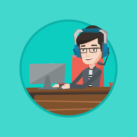 video call: Man playing video game on computer. Businessman during video conference in office. Businessman with headset working on computer. Vector flat design illustration in the circle isolated on background. Illustration