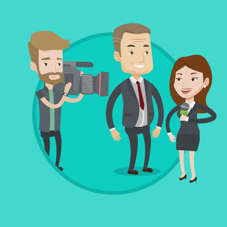 Reporter with microphone interviews a man. Hipster operator filming interview. Journalist making interview with businessman. Vector flat design illustration in the circle isolated on background.