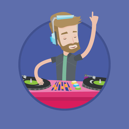 A hipster young DJ with the beard mixing music on turntables. DJ playing and mixing music on deck. Caucasian DJ in headphones. Vector flat design illustration in the circle isolated on background.