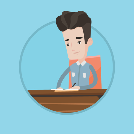 articles: Journalist sitting at the table and writing in notebook. Journalist writing notes with pencil. Journalist working at the table. Vector flat design illustration in the circle isolated on background.