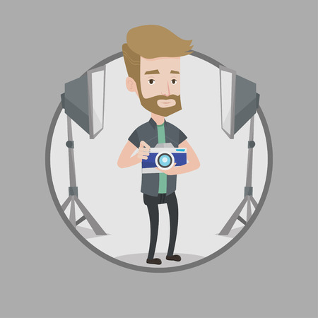 Hipster photographer with beard holding a camera in photo studio. Caucasian photographer using professional camera in the studio. Vector flat design illustration in the circle isolated on background.