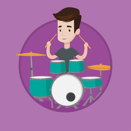 Young caucasian man playing on drums. Smiling mucisian playing on drums. Happy mucisian sitting behind the drum kit and playing. Vector flat design illustration in the circle isolated on background.
