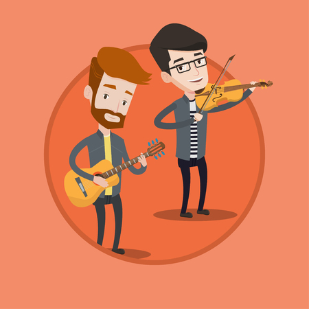 Band of musicians playing on musical instruments. Group of young caucasian musicians performing with musical instruments. Vector flat design illustration in the circle isolated on background. Illustration