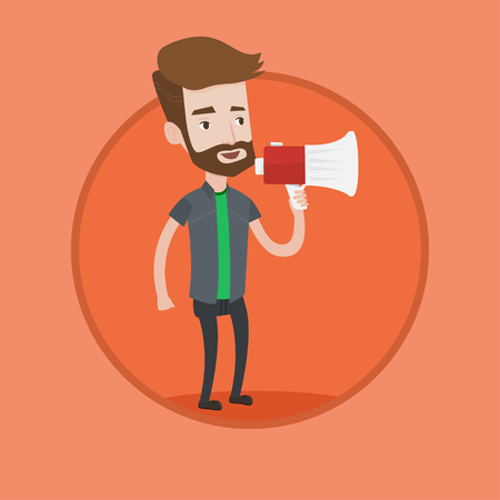 Promoter holding megaphone. Social media marketing concept. Promoter speaking in a megaphone. Promoter advertising using megaphone. Vector flat design illustration in the circle isolated on background
