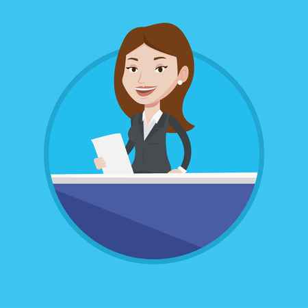 newsreader: Television anchorwoman working at studio. Caucasian anchorwoman at studio during live broadcasting. Anchorwoman reporting tv news. Vector flat design illustration in the circle isolated on background. Illustration