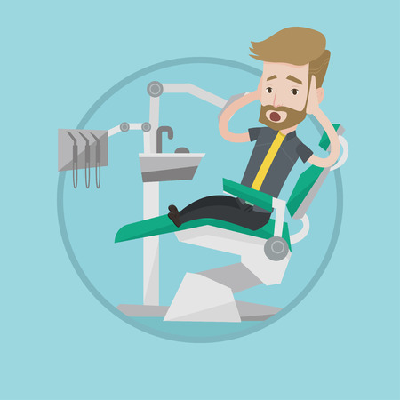 Frightened patient at dentist office. Scared man in dental clinic. Man visiting dentist. Afraid man sitting in dental chair. Vector flat design illustration in the circle isolated on background.