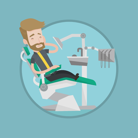 Young caucasian patient visiting dentist because of toothache. Sad man suffering from toothache. Hipster man having a toothache. Vector flat design illustration in the circle isolated on background.