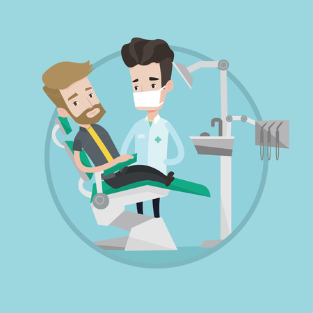 Hipster man with the beard sitting in dental chair. Doctor and patient in the dental clinic. Patient on reception at the dentist. Vector flat design illustration in the circle isolated on background. Illustration