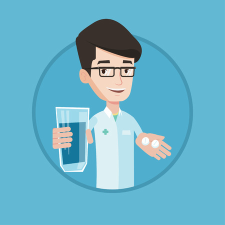 medical doctors: Young pharmacist holding in hands a glass of water and pills. Pharmacist in medical gown giving pills. Concept of health care. Vector flat design illustration in the circle isolated on background.