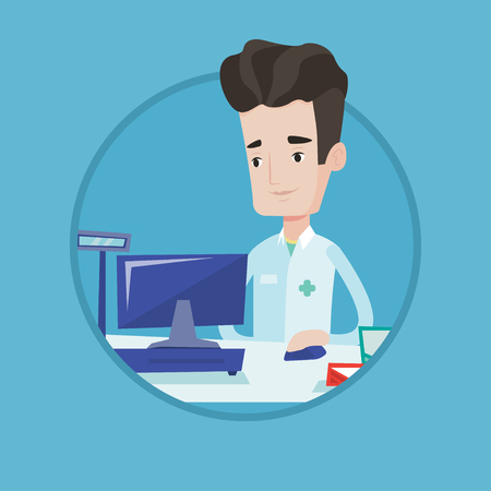 Smiling pharmacist in medical gown standing at the pharmacy counter. Pharmacist in the drugstore. Pharmacist working on a computer. Vector flat design illustration in the circle isolated on background