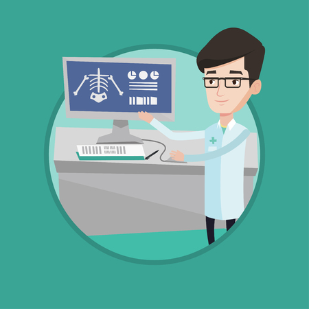 radiograph: Doctor examining a radiograph. Doctor looking at a chest radiograph on computer screen. Doctor observing a skeleton radiograph. Vector flat design illustration in the circle isolated on background. Illustration