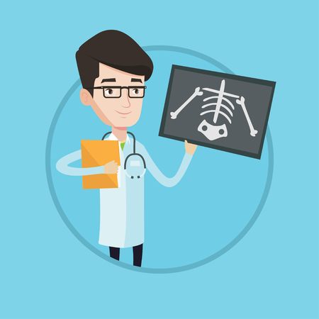 Caucasian doctor examining a radiograph. Young smiling doctor looking at chest radiograph. Doctor observing a skeleton radiograph. Vector flat design illustration in the circle isolated on background. Illustration