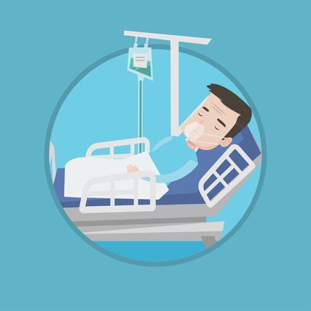 Caucasian patient during medical procedure in hospital. Patient lying in hospital bed with oxygen mask. Vector flat design illustration in the circle isolated on background.