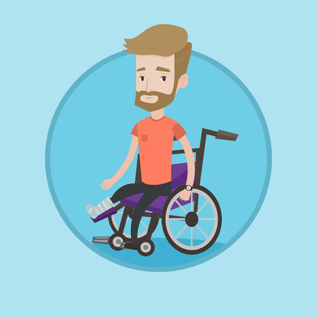 Hipster caucasian man sitting in wheelchair with broken leg. Injured man with leg in plaster. Young man with fractured leg. Vector flat design illustration in the circle isolated on background